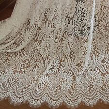 """Eyelash Lace Fabric White Floral Cotton Embroidered Bridal 59"""" width 1 yard"""