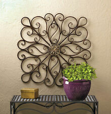 """36.4"""" Large Square Bronzed Iron Scrollwork Metal Wall Art Sculpture Decor"""