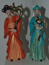 Vtg Asian Oriental Chinese Japanese Figurine Man Woman With Bird Pair Porcelain
