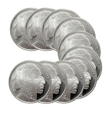 1/4 oz HM Buffalo Silver Rounds - 2.5 oz Total .999 fine (New, Lot of 10)