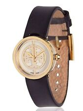 NEW WOMENS TORY BURCH (TRB4008) REVA GOLD TONE BLACK LEATHER STRAP WATCH