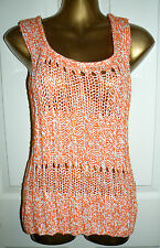 LOVEY ORANGE WHITE SLEEVELESS KNITTED TOP SIZE 14 BY PER UNA M&S NWT