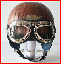 Leather Bicycle Open Face Motorcycle Casco Moto Full Coffee Brown Helmet Goggles