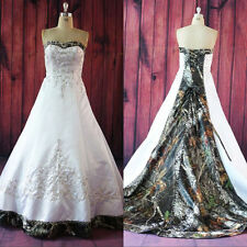 2016 New Camo Wedding Dresses Satin Lace-up Custom-Made Bridal Gowns Plus Size