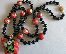 "VINTAGE CHINESE NECKLACE CARVED CINNABAR CLOISONNE BEADS PENDANT 31"" BIG SALE!"