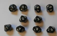 10 Black Ten Sided Dice Geometric Teaching RPG D10 NEW