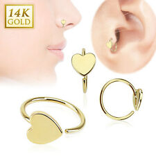 14K Solid Gold HEART Loop HOOP RINGS Stud Nose Ear Tragus Daith Piercing Jewelry