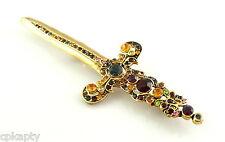 HUGE Vintage 1980s 90s Goldtone & Rhinestones SWORD Design Brooch PIN
