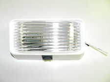 12 volt RV Porch Light rectangle clear lens camper RV trailer white with switch