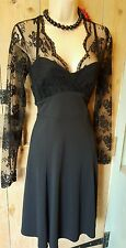 Next black lacey vintage 40s 50s style dress steampunk goth victorian party 8P