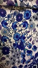 Polyester blue floral print fabric vintage retro pattern