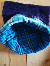 HAND Knitted organici lana gatto / cane piccolo sacco a pelo con fodera in pile