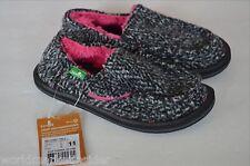 NEW Sanuk Kids Girls Sidewalk Surfer Meltaway Black Sz 11 pink  lined