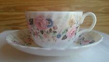 """Minton """"Rose Garland"""" China Flat Cup & Saucer"""