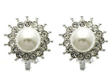 198w Vintage Look Crystal Framed White Faux Pearl Flower Clip on Earrings