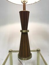 Vintage Atomic Sputnik Teak Brass Wood Danish Mid Century Modern Table Desk Lamp