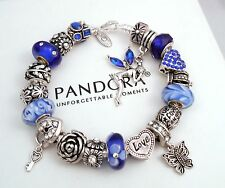 Authentic Pandora Silver Charm Bracelet with European charms Crystal Love Heart