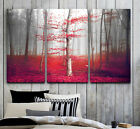 Beautiful Misty Autumn Red Forest FRAMED Gallery wrap Canvas print Triptych