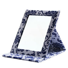 Home Square PU Leather Portable Folding Standing Mirrors Travel Makeup Mirrors L