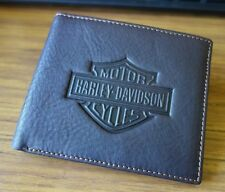 New Harley Davidson Men's Brown Distressed Leather Slim Bi-fold Wallet Genuine