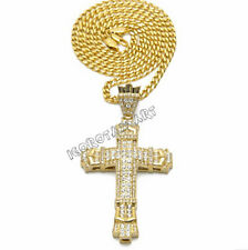 Fashion Clear Iced Out Bling Gold Jesus Cross Crucifix Design Pendant Necklace