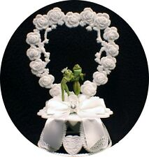 """""""OUR PAD"""" FROG bride & Groom Adorable Guitar Wedding cake topper top funny"""