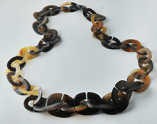 LONG CHAIN NATURAL BUFFALO HORN NECKLACE  JEWELRY  FASHION DESIGNER Handmade 48""