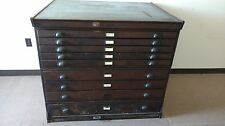 Vintage Wooden Flat File Map Cabinet  K&E 9 Drawer