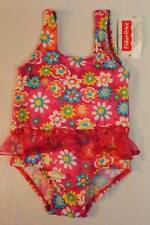 NEW Baby Girls Bathing Suit 12 Mos Pink Floral Swim Wear Tutu Flowers One Piece
