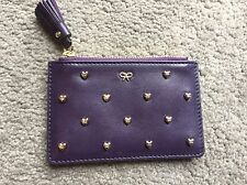 Authentic Anya Hindmarch Purple Leather Studded Heart Flyod Coin Pouch Purse