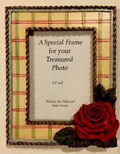 "Picture Frame for 3.5"" x 5"" Photo Red Rose in Realistic 3D Detail"