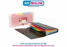 PP Mini DL 6 Part Expanding Organiser File with Colourful Divider & Stud Closure