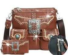 Montana west Western Concealed Buckle Handgun Collection Messenger Bag Set -BR