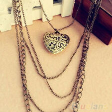 Retro Vintage Hollow Heart Pendant Long Sweater Necklace Women Jewelry Gift