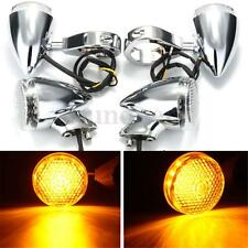 4 x 41mm Clamp Front Rear Motorcycle LED Turn Signal Indicator Light For Harley