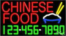 """NEW """"CHINESE FOOD"""" W/YOUR PHONE NUMBER 37x20 NEON SIGN W/CUSTOM OPTIONS 15023"""
