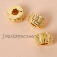 5x Fancy Gold Plated Alloy Stopper Beads Charms Fit European Bracelets Jewelry J
