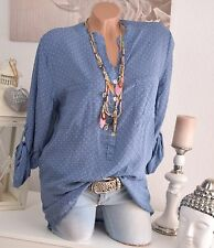 FISHING SHIRT TUNIC BLOUSE OVERSIZE PATTERN 36 38 40 BLUE CIRCLES