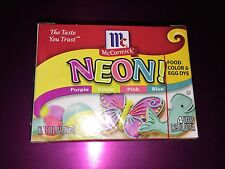 McCormick Easter Food and Egg Dye Coloring NEON Purple Green Pink Blue 1 oz NEW
