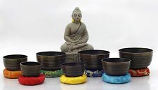 Chakra Healing Tibetan Singing Bowl Brown 7 Sets of Meditation Bowls From Nepal