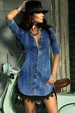 Abito aperto camicia merletto jeans Scollo Gonna Mini Lace Denim Shirt Dress S