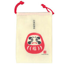 Japanese Lucky Daruma Kinchaku Drawstring Money Pouch Purse Bag, Made in Japan