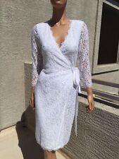 Diane von Furstenberg Julianna lace Wrap dress White 8