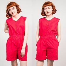 WOMENS VINTAGE RED PLAYSUIT ROMPER PLAIN 90'S STYLE RETRO BEACH SUMMER 10 12