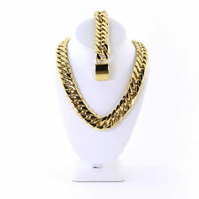 SOLID 14K GOLD FINISH THICK HEAVY MIAMI CUBAN LINK CHAIN & BRACELET 21MM JayZ
