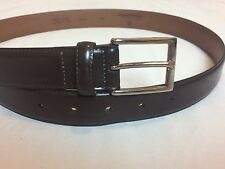 New $98 Brooks Brothers Classic Brown Leather Belt Size 34 Stainless Buckle