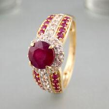 Ring mit Rubinen + weißen Saphiren in 585/14k Gelbgold