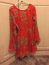ASOS Petite Size 4 Red Long Sleeved Floral Dress