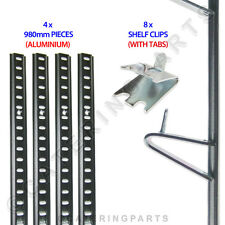 FRIDGE SHELVING KIT 4 x LENGTHS ALUMINIUM PILASTER RAIL 980mm + 8 TABBED CLIPS