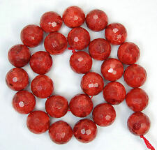 """14mm Faceted Red Sponge Coral Round Beads 15"""""""